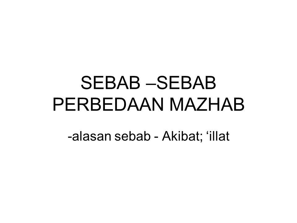 SEBAB –SEBAB PERBEDAAN MAZHAB