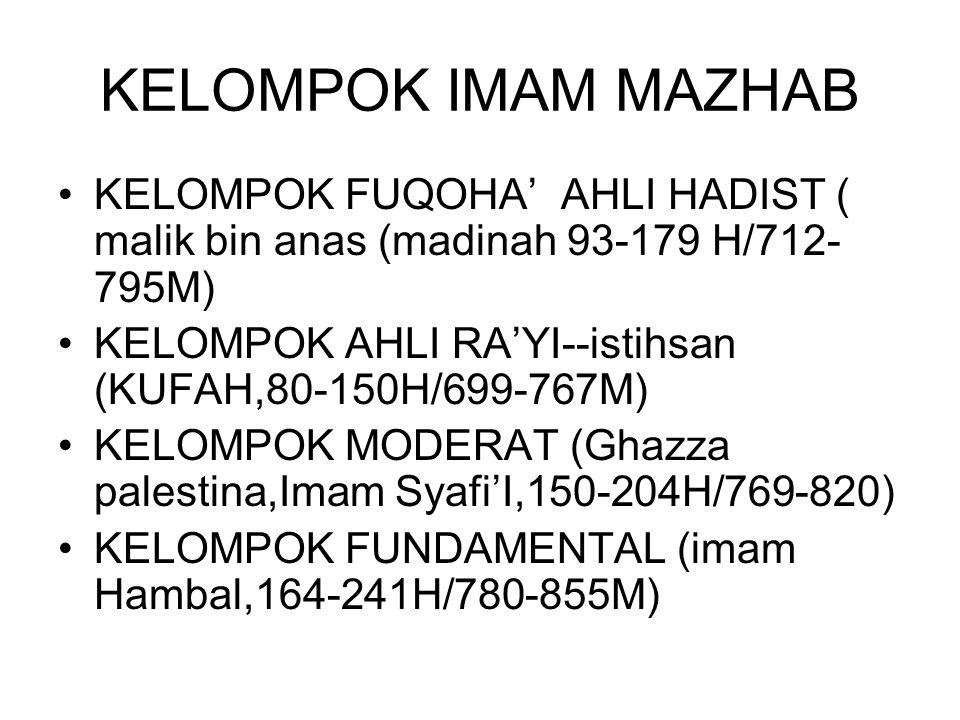 KELOMPOK IMAM MAZHAB KELOMPOK FUQOHA' AHLI HADIST ( malik bin anas (madinah 93-179 H/712-795M)