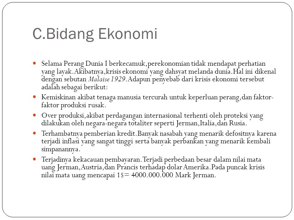 C.Bidang Ekonomi