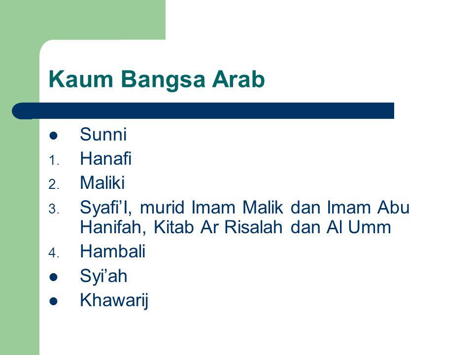 Kaum Bangsa Arab Sunni Hanafi Maliki
