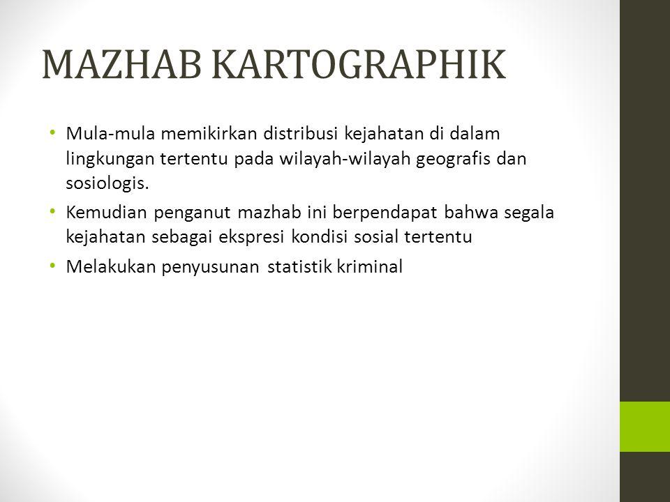 MAZHAB KARTOGRAPHIK Mula-mula memikirkan distribusi kejahatan di dalam lingkungan tertentu pada wilayah-wilayah geografis dan sosiologis.