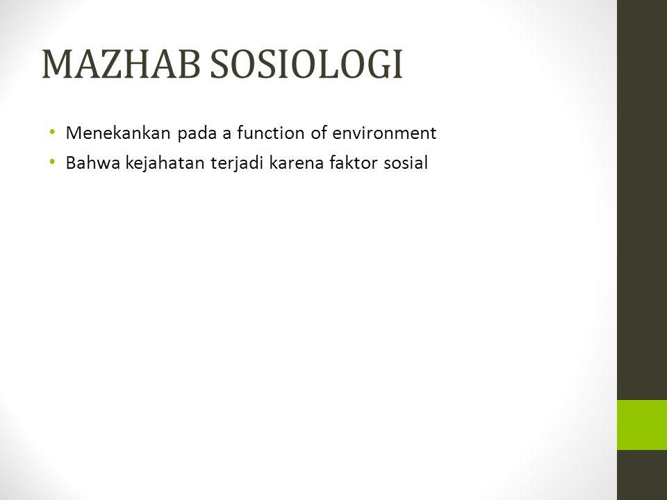 MAZHAB SOSIOLOGI Menekankan pada a function of environment