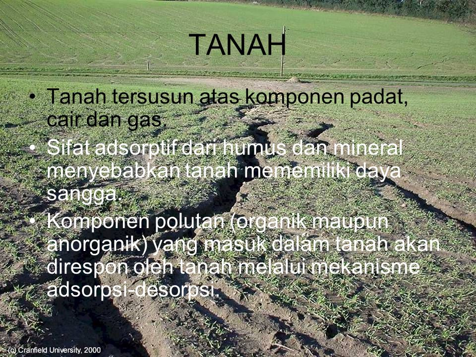 TANAH Tanah tersusun atas komponen padat, cair dan gas.