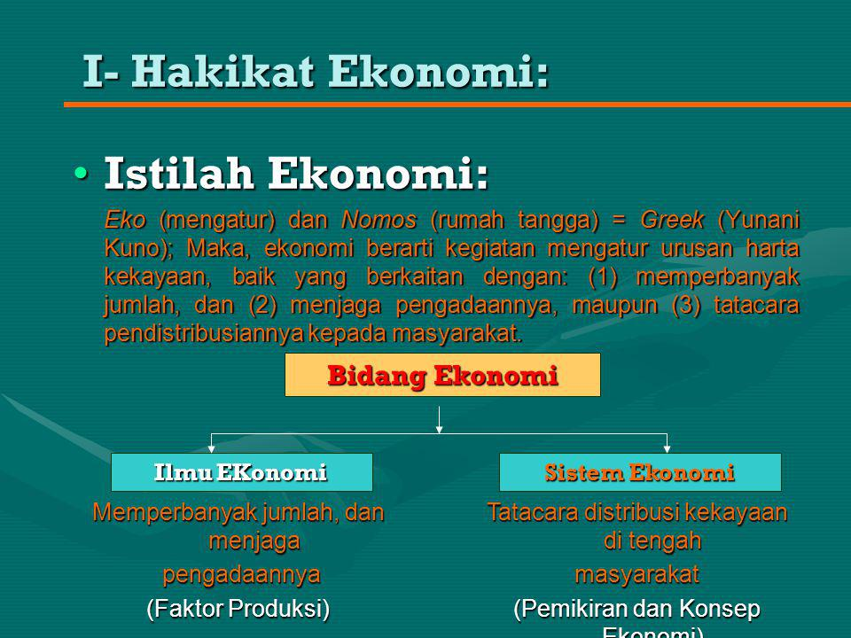 I- Hakikat Ekonomi: Istilah Ekonomi: Bidang Ekonomi