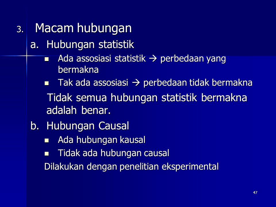 Macam hubungan Hubungan statistik