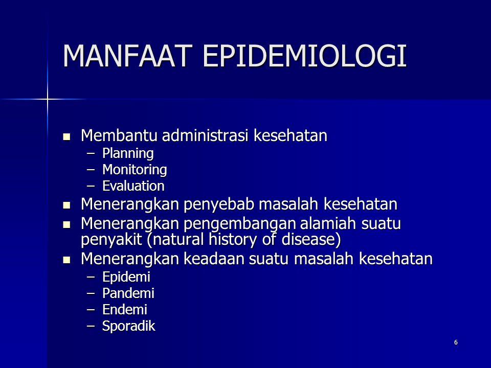 MANFAAT EPIDEMIOLOGI Membantu administrasi kesehatan