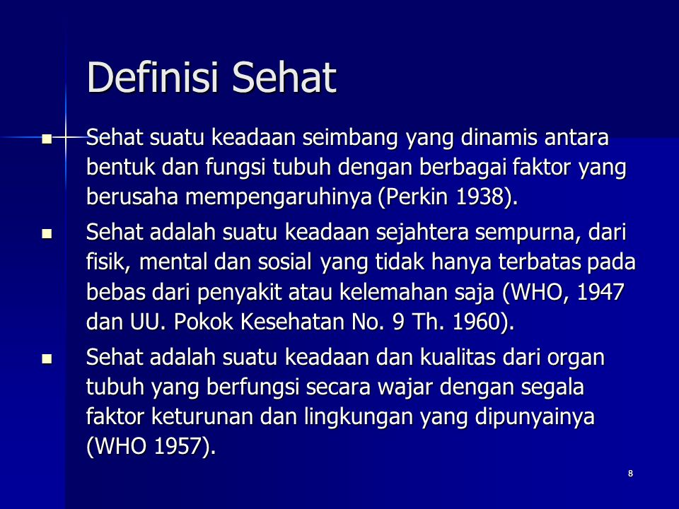 Definisi Sehat