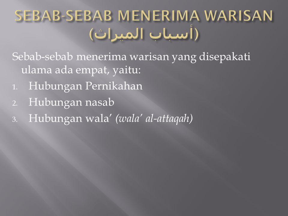 SEBAB-SEBAB MENERIMA WARISAN (أسباب الميراث)