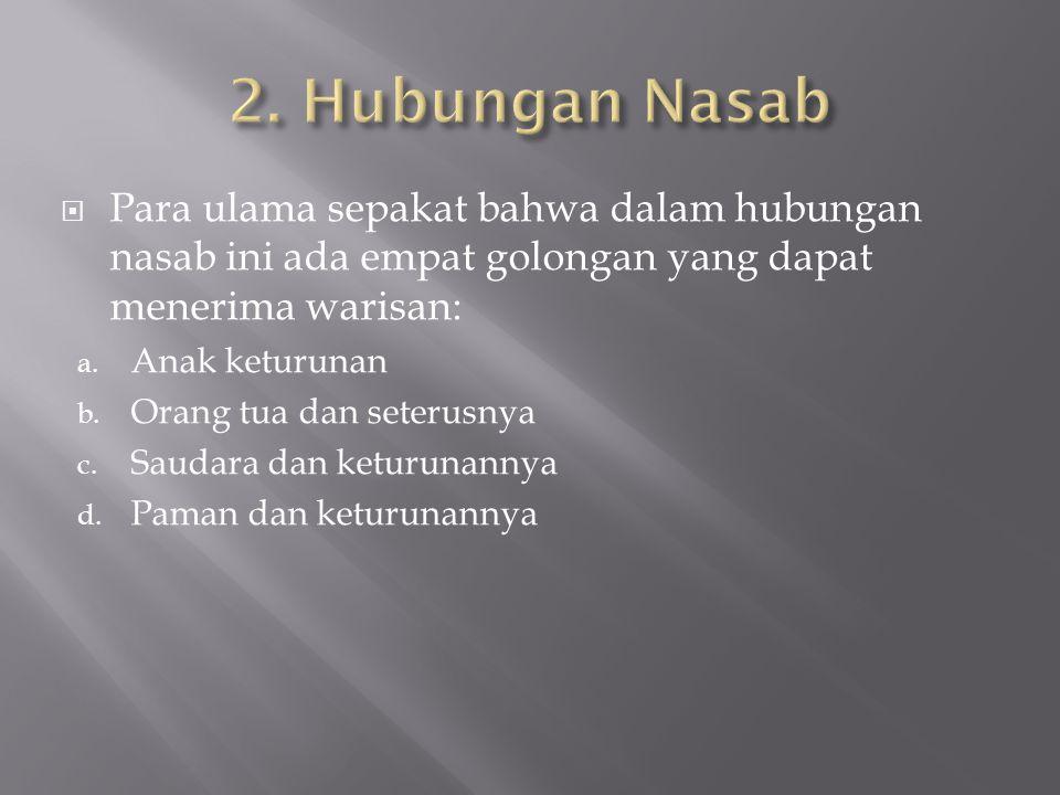 2. Hubungan Nasab Para ulama sepakat bahwa dalam hubungan nasab ini ada empat golongan yang dapat menerima warisan: