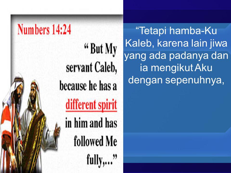 Tetapi hamba-Ku Kaleb, karena lain jiwa yang ada padanya dan ia mengikut Aku dengan sepenuhnya,
