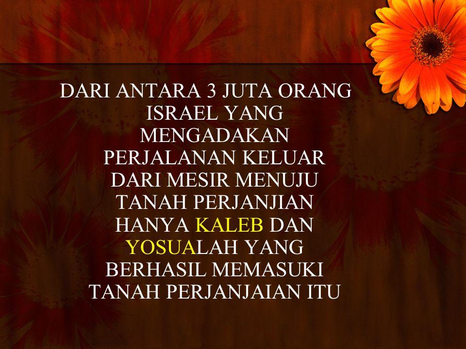 DARI ANTARA 3 JUTA ORANG ISRAEL YANG MENGADAKAN PERJALANAN KELUAR DARI MESIR MENUJU TANAH PERJANJIAN HANYA KALEB DAN YOSUALAH YANG BERHASIL MEMASUKI TANAH PERJANJAIAN ITU