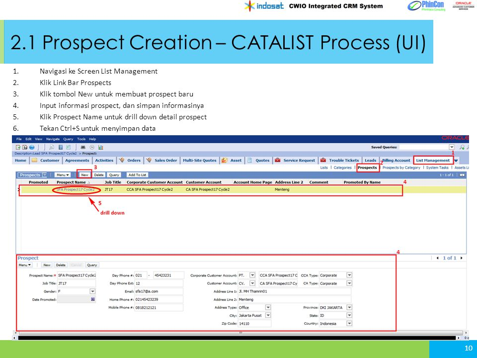 2.1 Prospect Creation – CATALIST Process (UI)