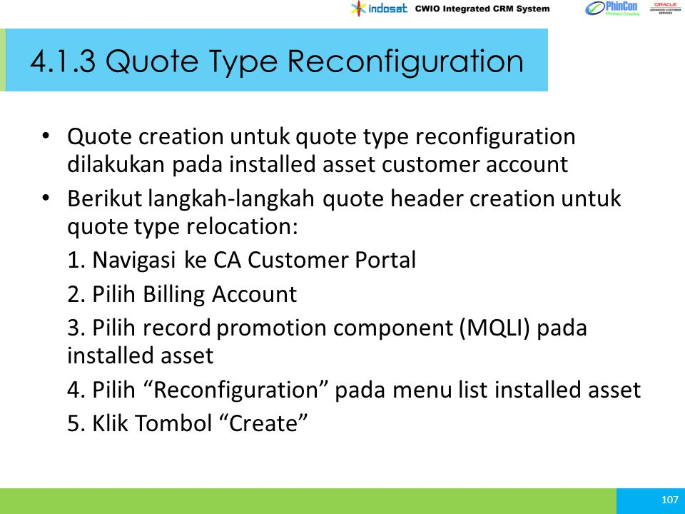 4.1.3 Quote Type Reconfiguration