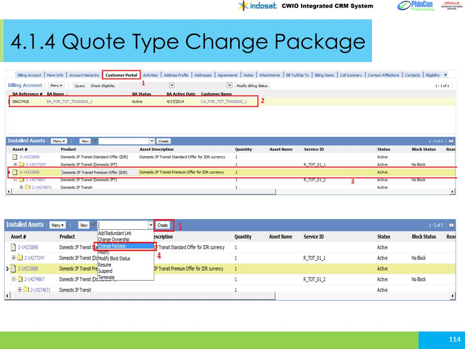 4.1.4 Quote Type Change Package