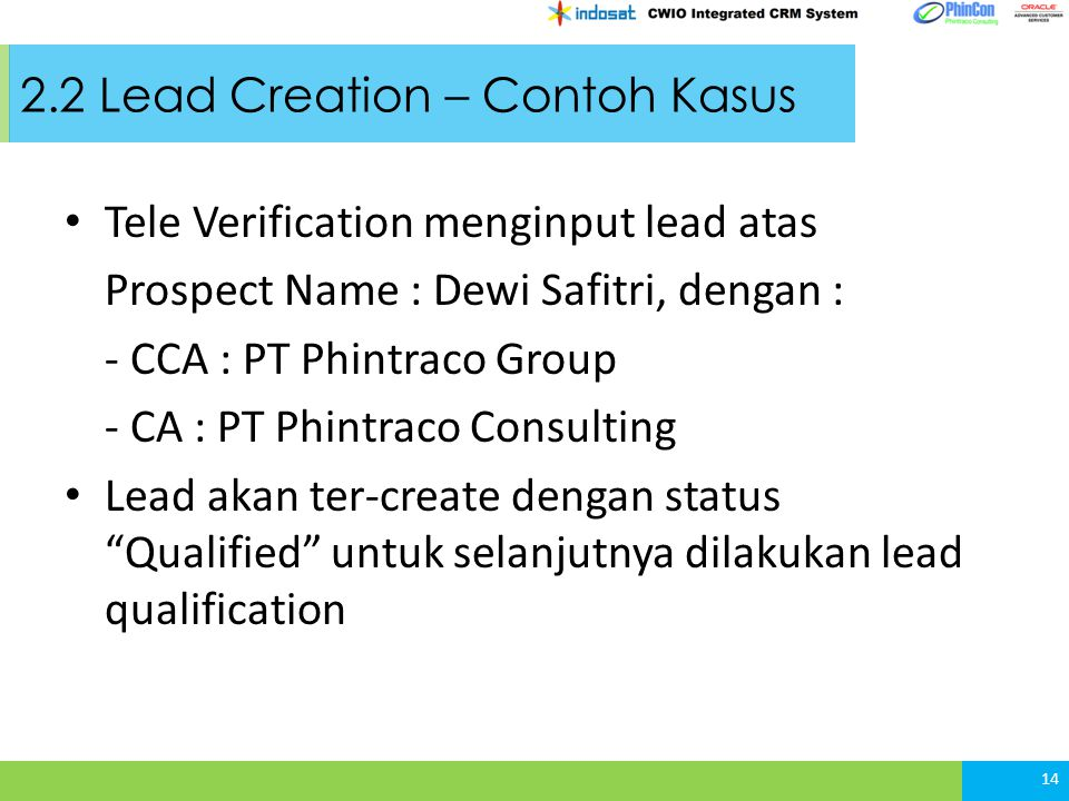 2.2 Lead Creation – Contoh Kasus