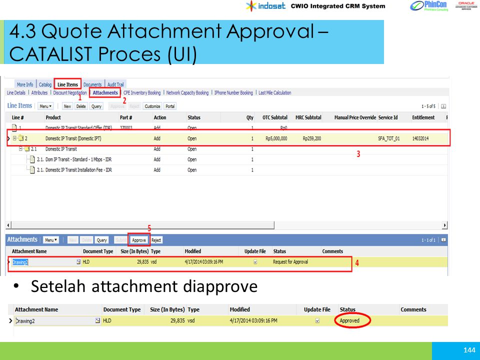 4.3 Quote Attachment Approval – CATALIST Proces (UI)