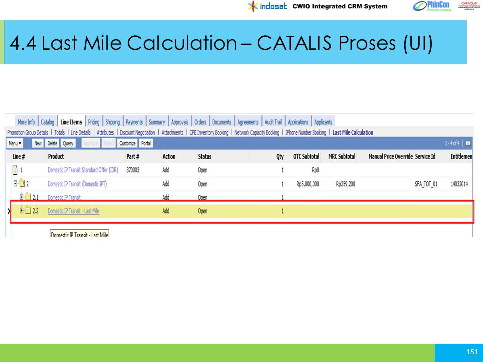 4.4 Last Mile Calculation – CATALIS Proses (UI)