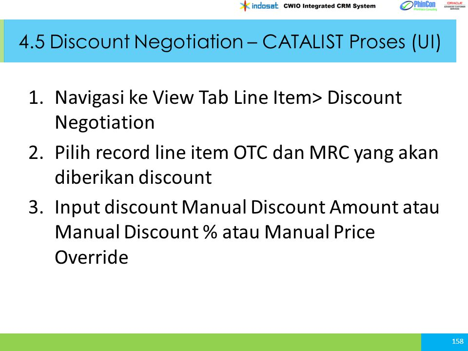 4.5 Discount Negotiation – CATALIST Proses (UI)