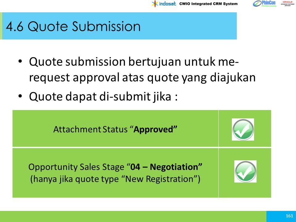 Quote dapat di-submit jika :