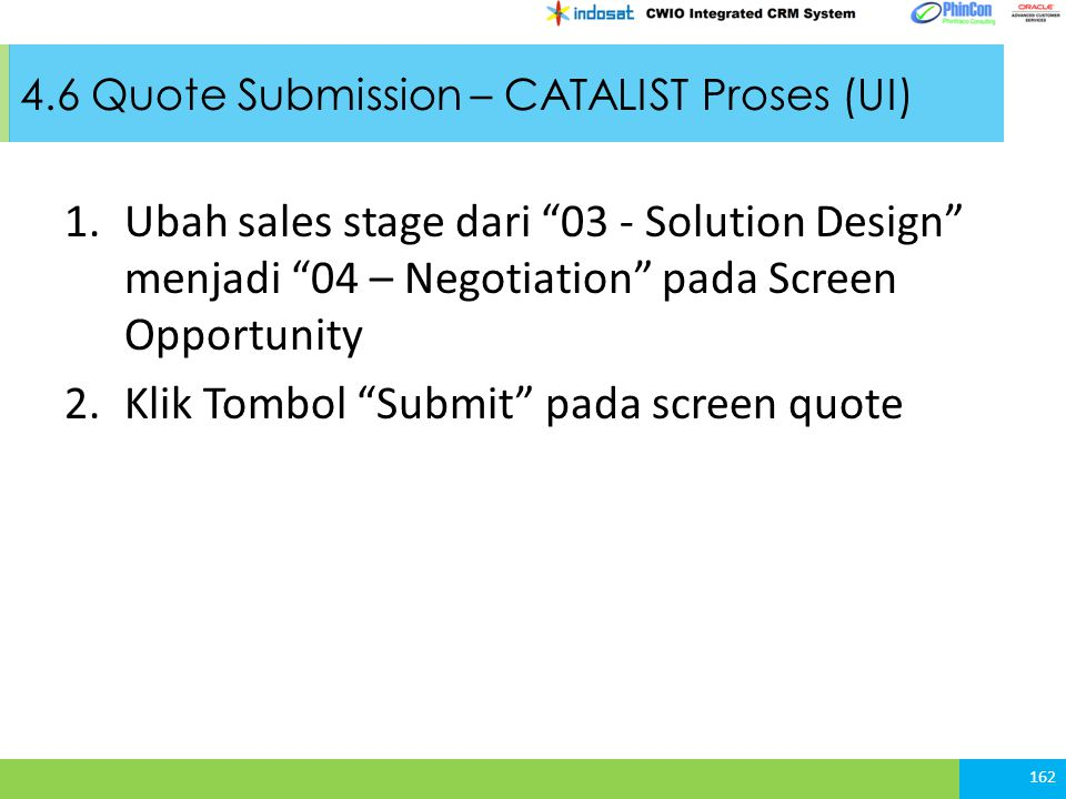 4.6 Quote Submission – CATALIST Proses (UI)