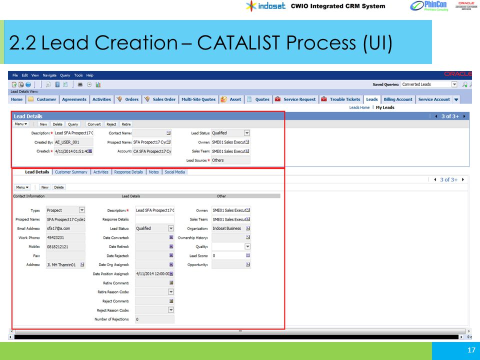 2.2 Lead Creation – CATALIST Process (UI)