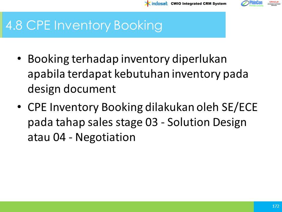 4.8 CPE Inventory Booking Booking terhadap inventory diperlukan apabila terdapat kebutuhan inventory pada design document.