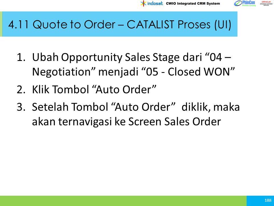 4.11 Quote to Order – CATALIST Proses (UI)