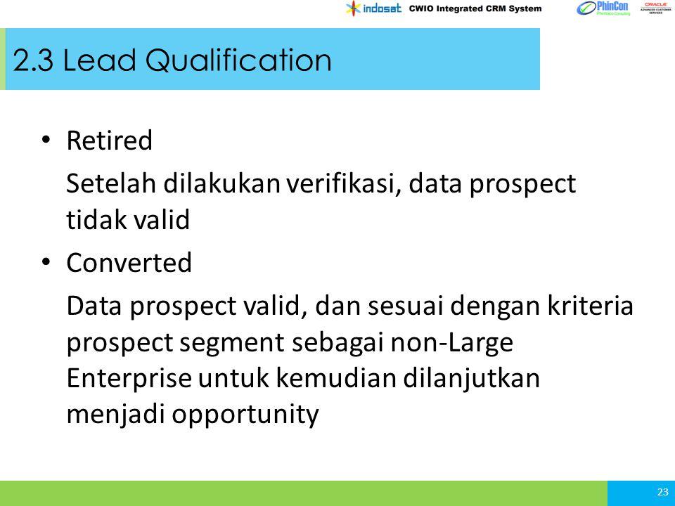 2.3 Lead Qualification Retired. Setelah dilakukan verifikasi, data prospect tidak valid. Converted.