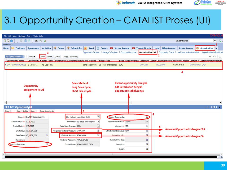 3.1 Opportunity Creation – CATALIST Proses (UI)