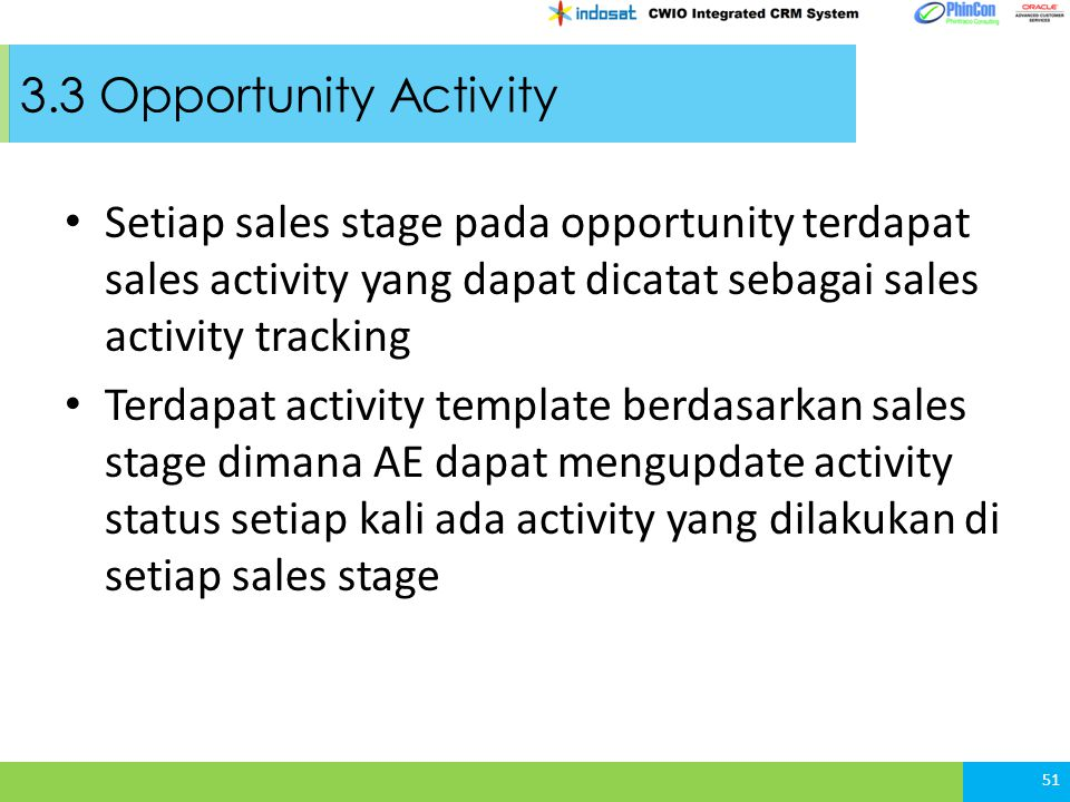3.3 Opportunity Activity Setiap sales stage pada opportunity terdapat sales activity yang dapat dicatat sebagai sales activity tracking.