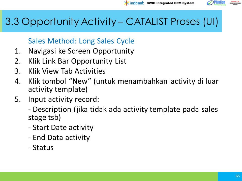 3.3 Opportunity Activity – CATALIST Proses (UI)
