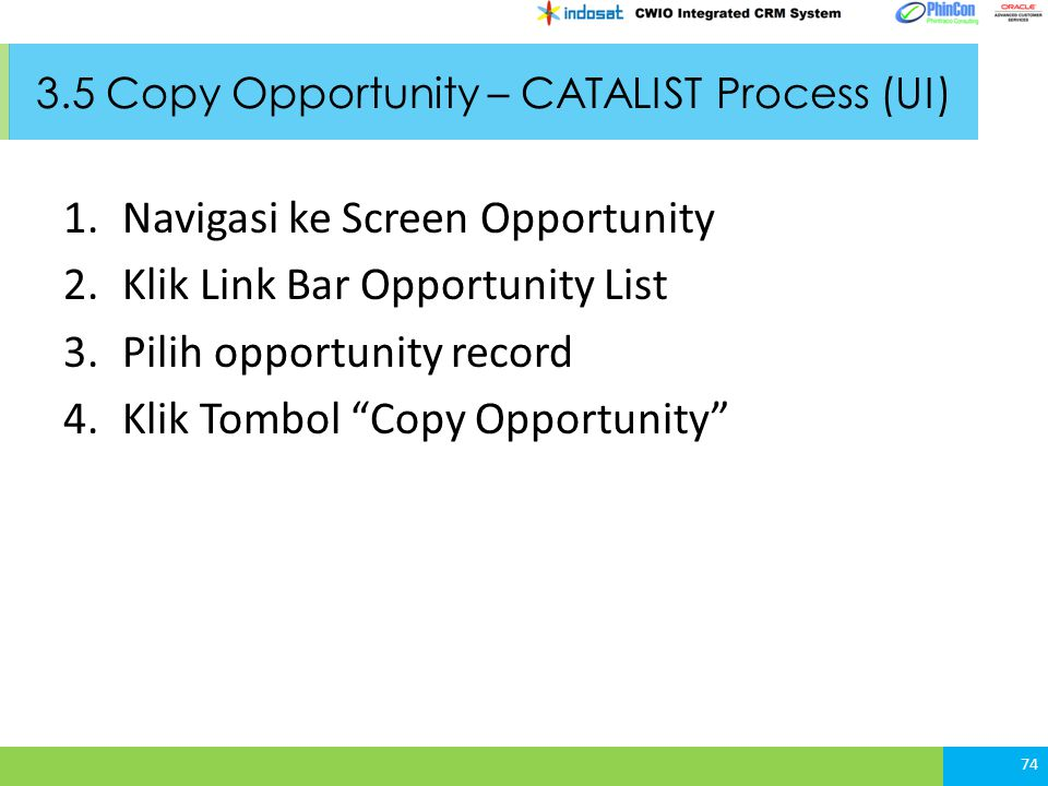 3.5 Copy Opportunity – CATALIST Process (UI)
