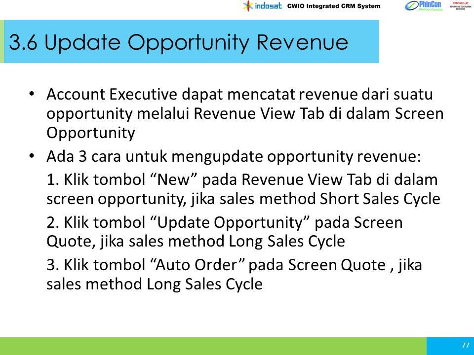 3.6 Update Opportunity Revenue
