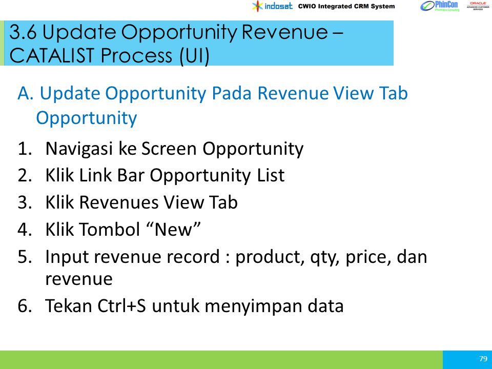 3.6 Update Opportunity Revenue – CATALIST Process (UI)