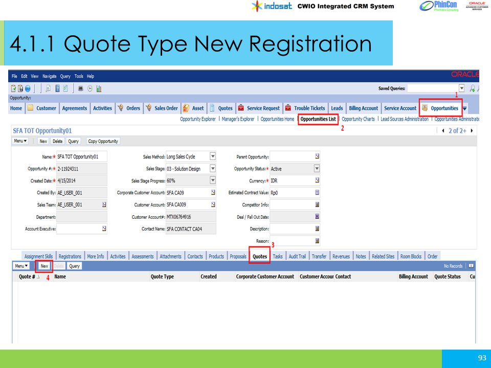 4.1.1 Quote Type New Registration