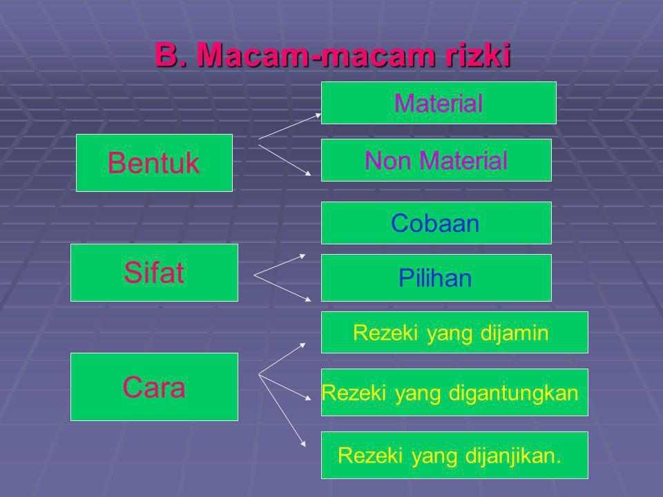 B. Macam-macam rizki Bentuk Sifat Cara Material Non Material Cobaan