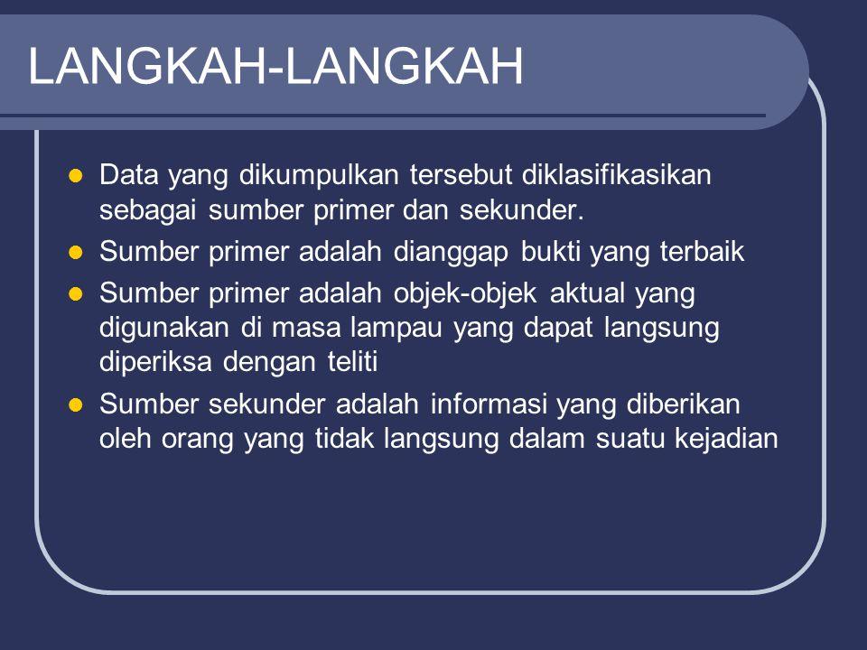 LANGKAH-LANGKAH Data yang dikumpulkan tersebut diklasifikasikan sebagai sumber primer dan sekunder.