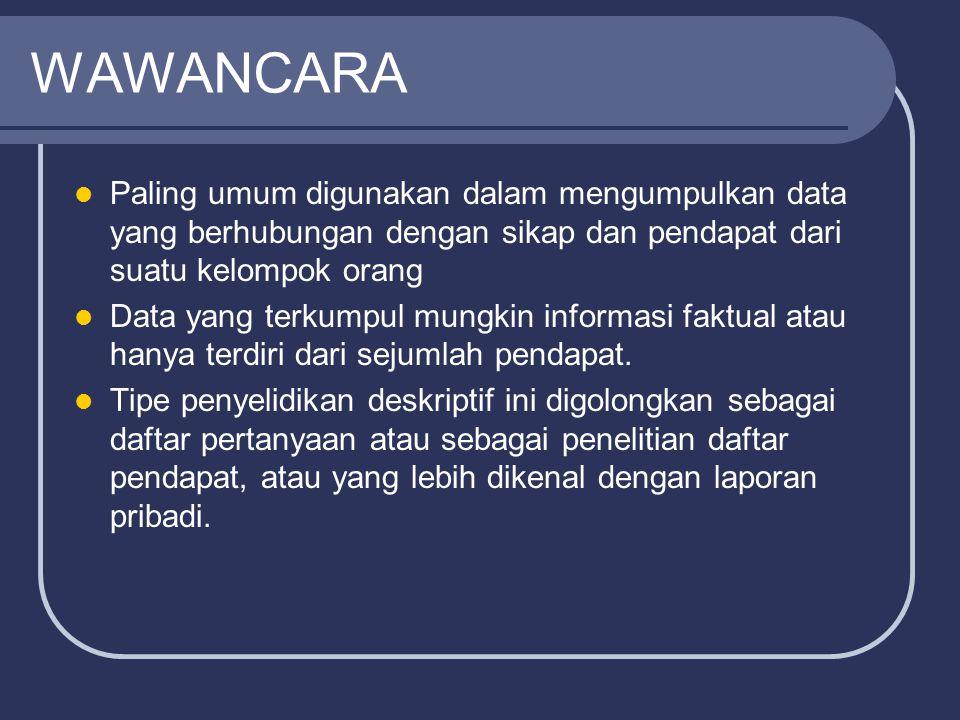 WAWANCARA Paling umum digunakan dalam mengumpulkan data yang berhubungan dengan sikap dan pendapat dari suatu kelompok orang.