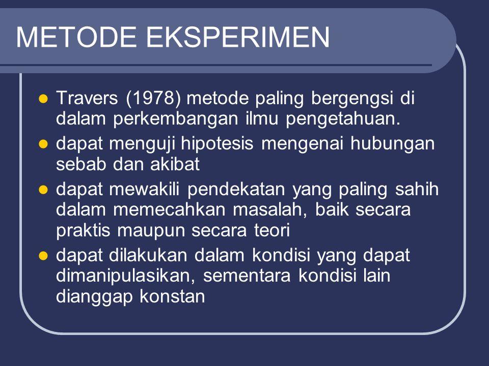 METODE EKSPERIMEN Travers (1978) metode paling bergengsi di dalam perkembangan ilmu pengetahuan.