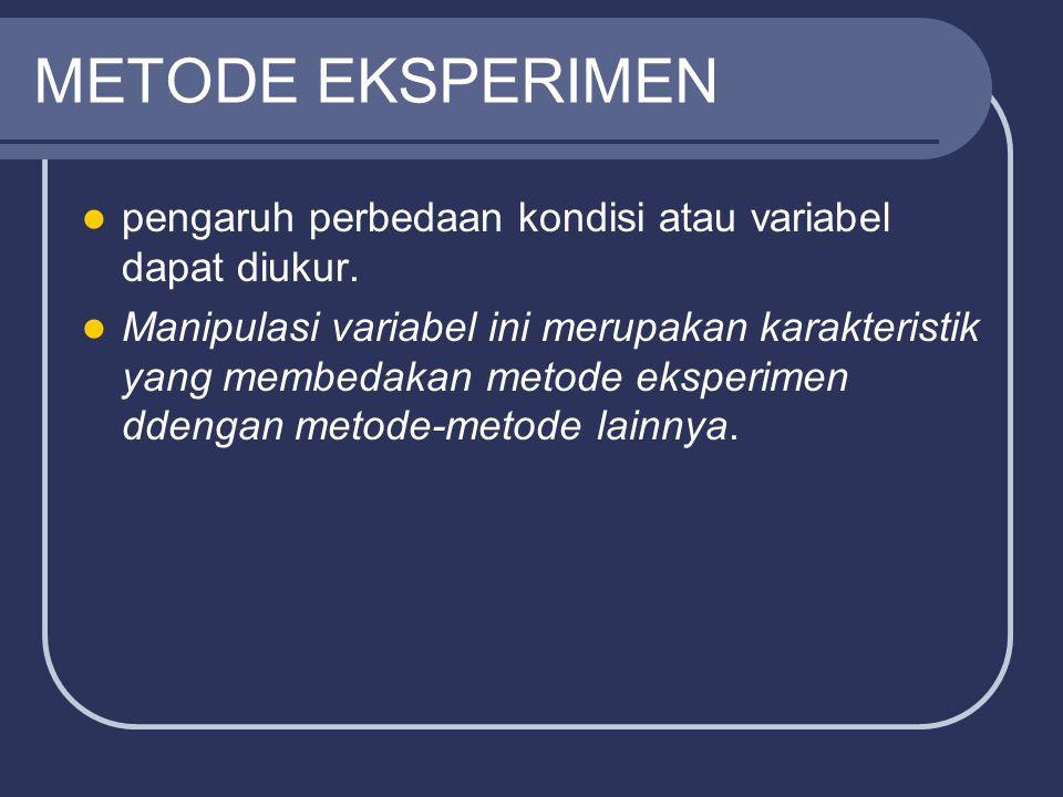 METODE EKSPERIMEN pengaruh perbedaan kondisi atau variabel dapat diukur.