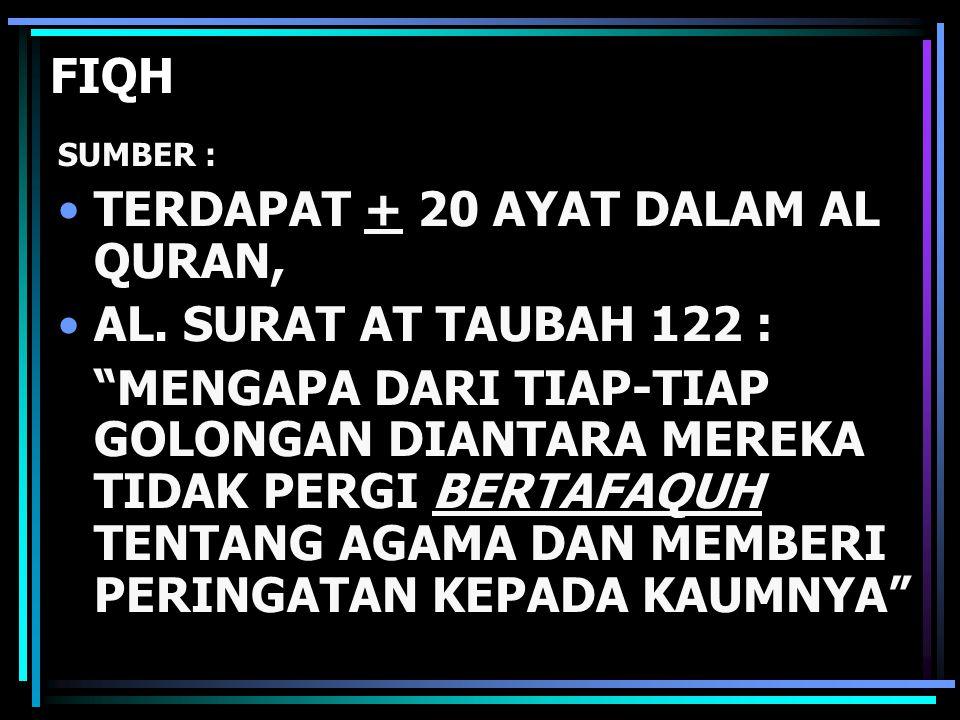 TERDAPAT + 20 AYAT DALAM AL QURAN, AL. SURAT AT TAUBAH 122 :