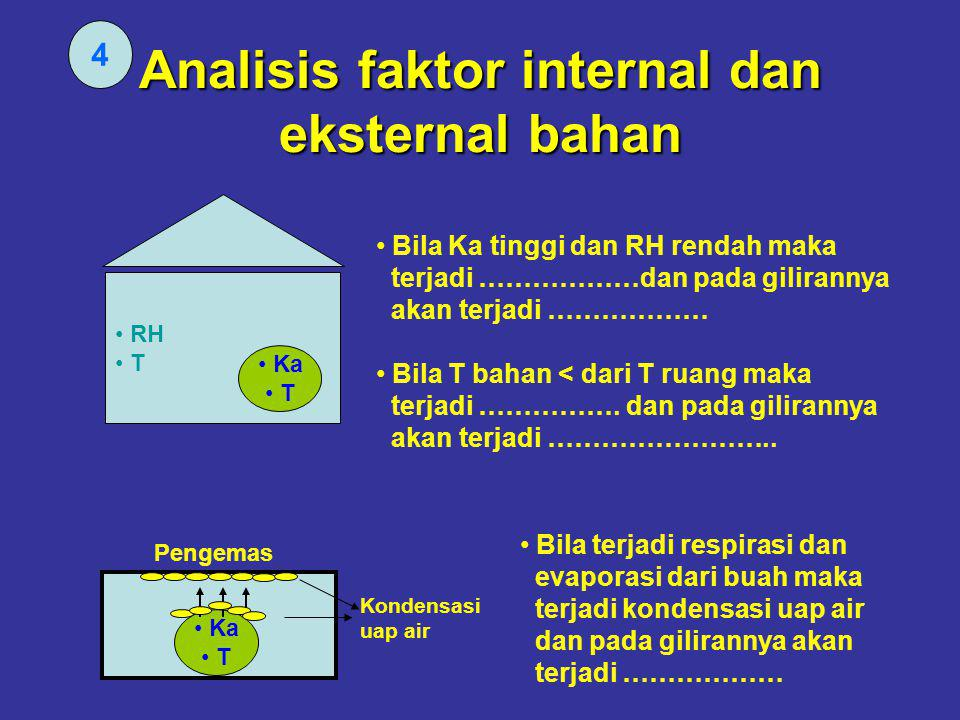 Analisis faktor internal dan eksternal bahan