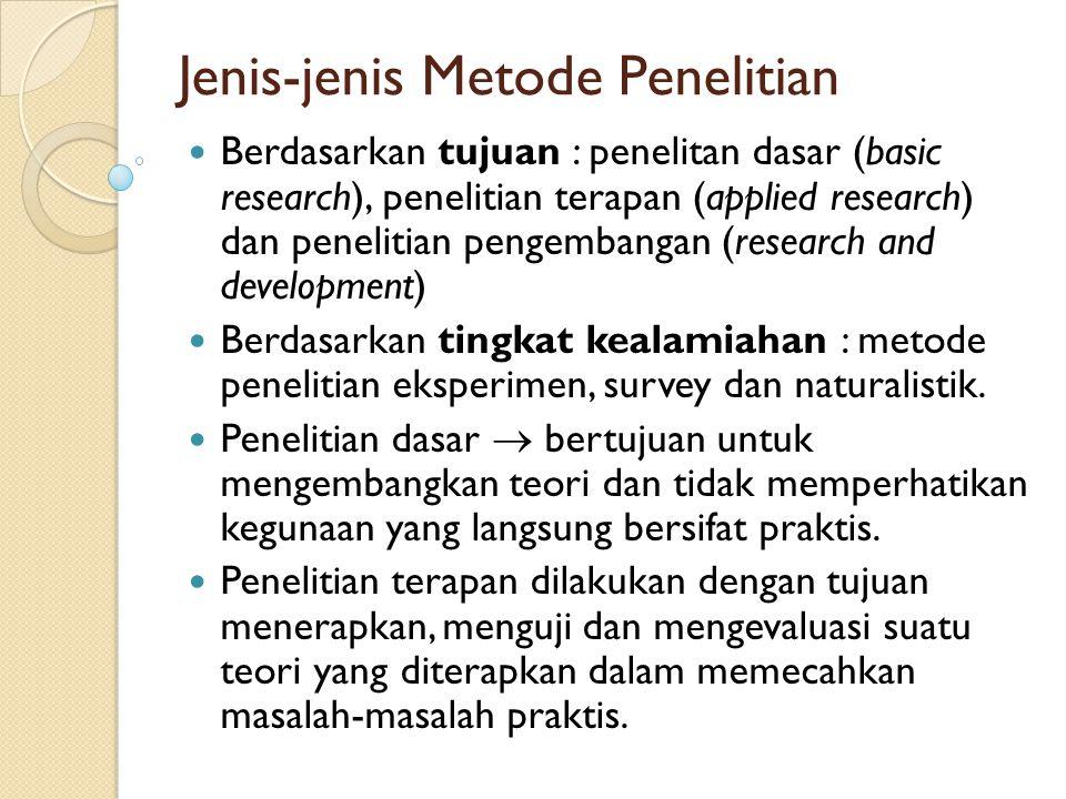 Jenis-jenis Metode Penelitian