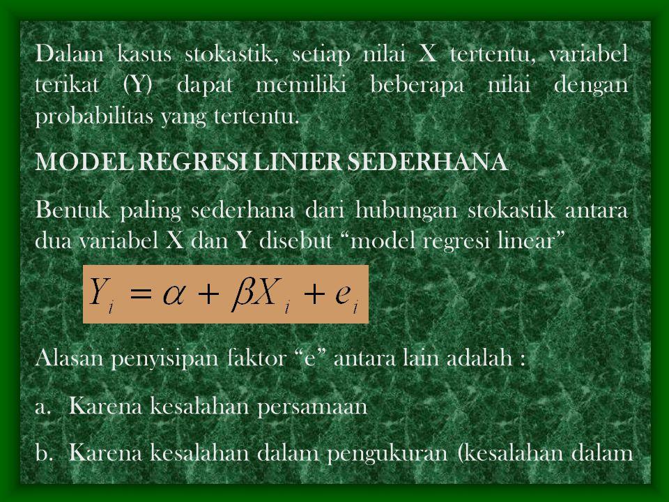Dalam kasus stokastik, setiap nilai X tertentu, variabel terikat (Y) dapat memiliki beberapa nilai dengan probabilitas yang tertentu.