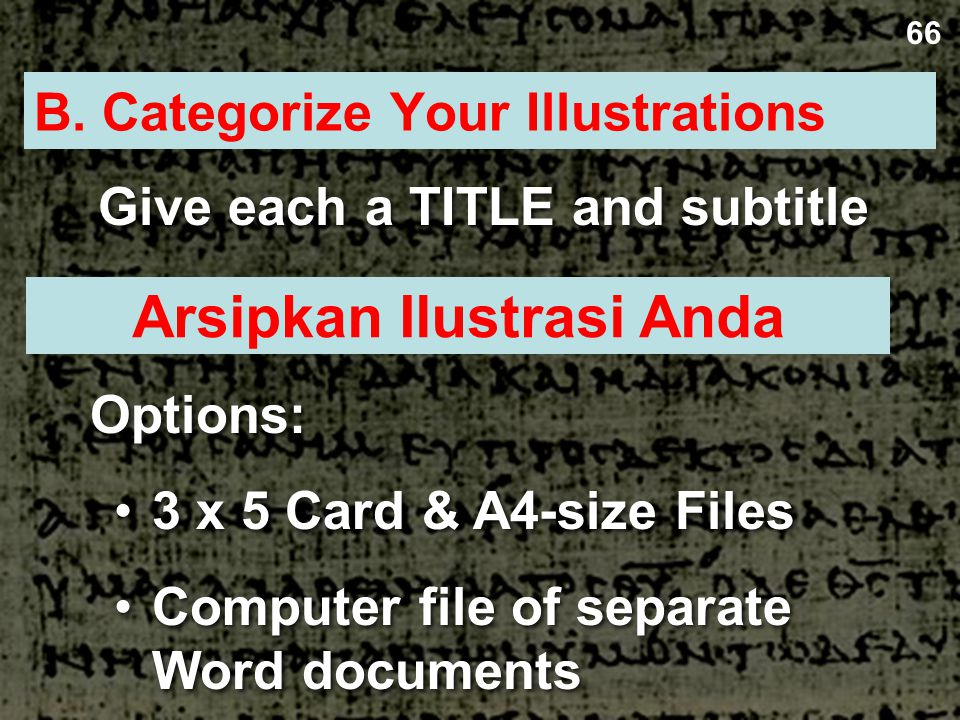 B. Categorize Your Illustrations