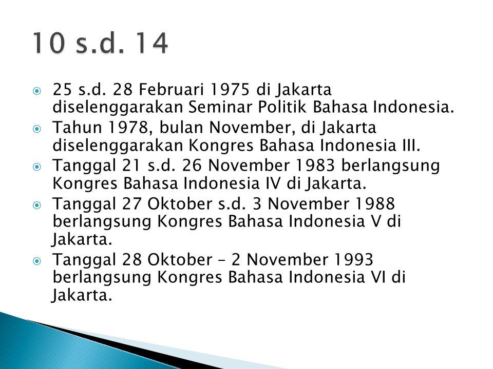 10 s.d. 14 25 s.d. 28 Februari 1975 di Jakarta diselenggarakan Seminar Politik Bahasa Indonesia.