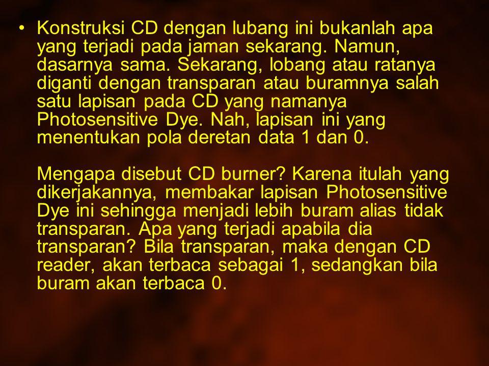 Konstruksi CD dengan lubang ini bukanlah apa yang terjadi pada jaman sekarang.
