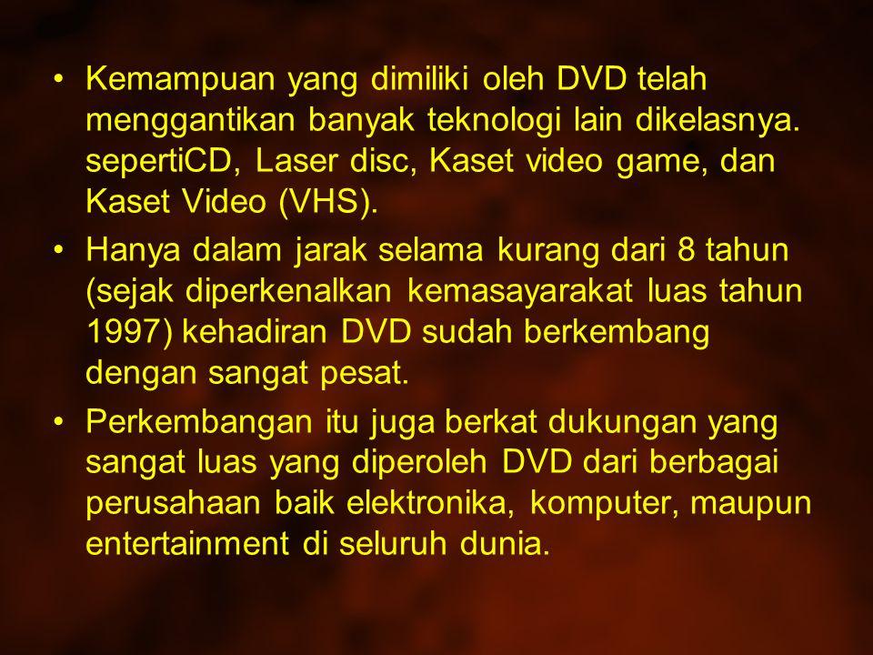 Kemampuan yang dimiliki oleh DVD telah menggantikan banyak teknologi lain dikelasnya. sepertiCD, Laser disc, Kaset video game, dan Kaset Video (VHS).