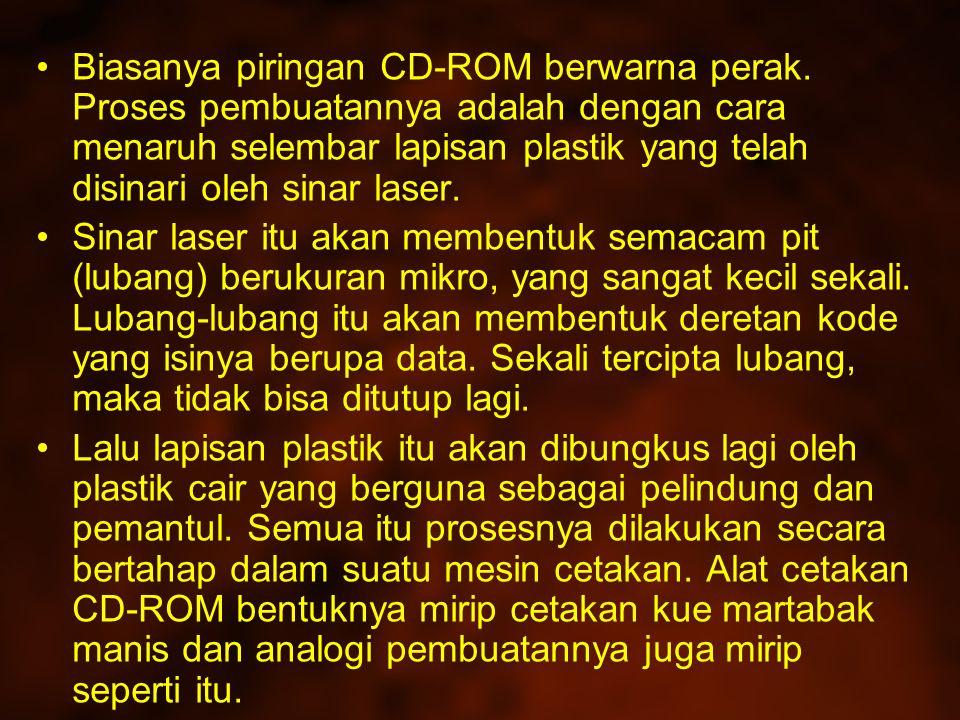 Biasanya piringan CD-ROM berwarna perak