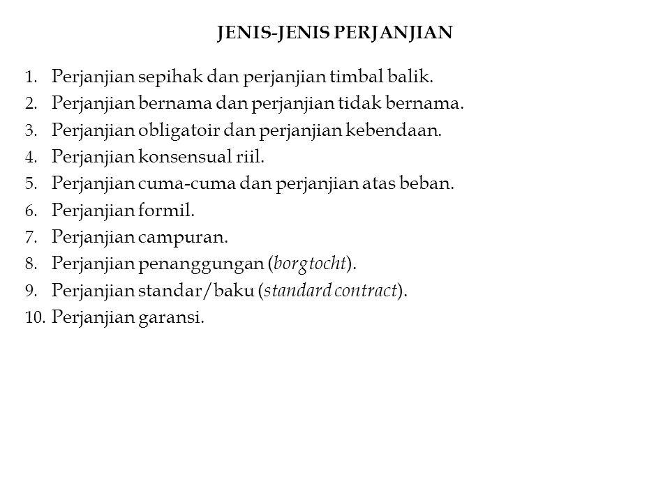 JENIS-JENIS PERJANJIAN